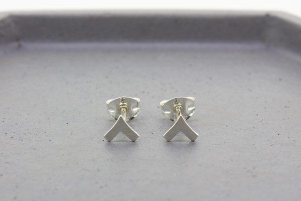 Chevron Silver Stud Earrings