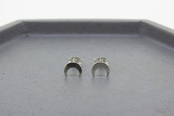 Crescent Moon Silver Stud Earrings