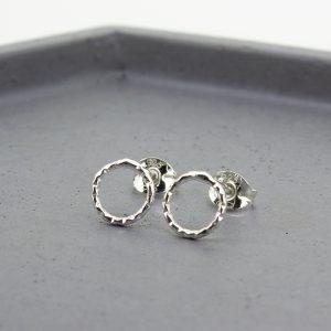 Diamond Cut Silver Open Circle Stud Earrings