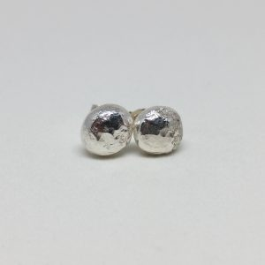 Hammered Recycled Silver Pebble Stud Earrings