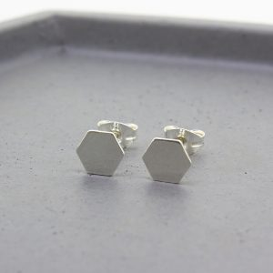 Hexagon Silver Stud Earrings