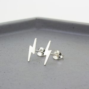 Lightning Bolt Silver Stud Earrings