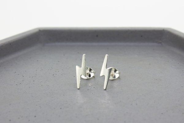 Lightning Bolt Silver Stud Earrings