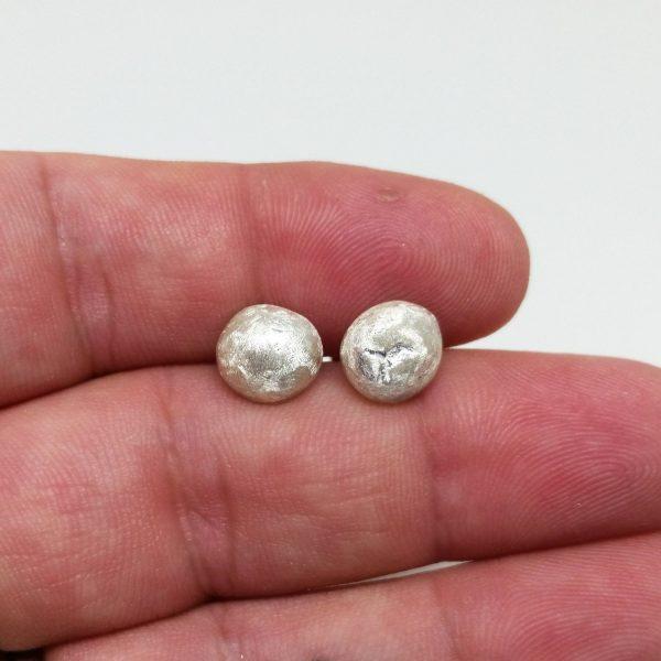 Matte Recycled Silver Pebble Stud Earrings