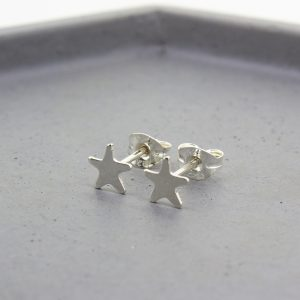 Tiny Silver Star Stud Earrings