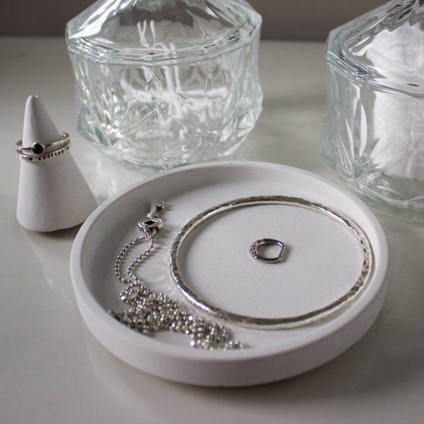 White Round Concrete Trinket Dish