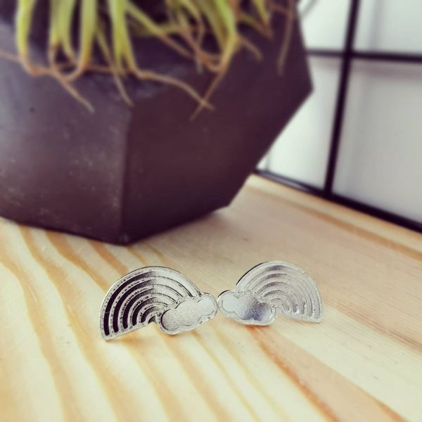 Silver Rainbow Stud Earrings